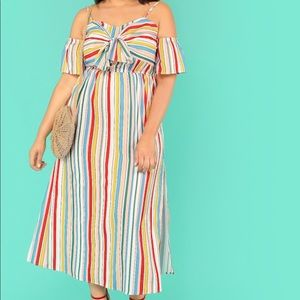 Dresses & Skirts - Rainbow Off the Should Maxi Dress